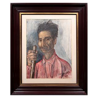 Ignacio Beteta Quintana. Retrato. Firmada y fechada 68. Técnica mixta. Enmarcada. 55 x 41 cm