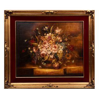 Ruíz Bailleres. Bouquet con jarrón. Firmado. Óleo sobre tela. Enmarcado en madera con molduras en esmalte dorado.