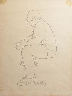 """George Valentine Dureau (1930-2014, New Orleans), """"Portrait of a Seated Afro-American Man,"""" 1969, charcoal, signed and dated lower c..."""