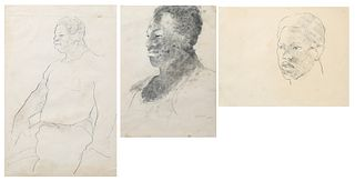 """George Valentine Dureau (1930-2014, New Orleans), """"Portrait Bust of a Young Afro-American Male,"""" """"Portrait of a Seated Afro-American..."""