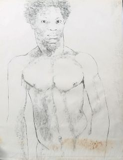 """George Valentine Dureau (1930-2014, New Orleans), """"Bust Portrait of a Nude Standing Afro-American Male,"""" charcoal, shrink wrapped, H..."""