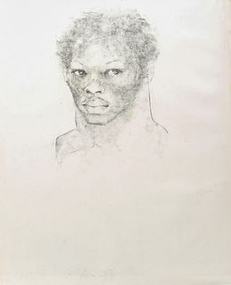 """George Valentine Dureau (1930-2014, New Orleans), """"Bust Portrait of an Afro-American Young Man,"""" 20th c., charcoal, unsigned, shrink..."""