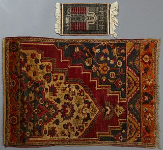 Oriental Carpet and Pakistani Oriental Mat, Carpet- H.- 3' 4 x 4' 8, Mat- 1' 1 x 1' 8.