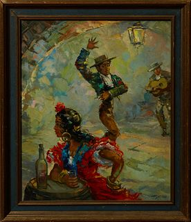 "Andre Gior, ""Flamenco Dancers,"" 20th c., oil on canvas, signed lower right, presented in a gilt and gesso frame, H.- 22 3/4 in., W.-..."