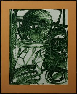 "Patrick Boudon (1944- ), ""Abstract in Green,"" 20th c., gouache, signed lower right, presented in a black metal frame, H.- 24 3/4 in...."