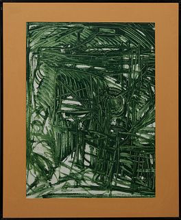 "Patrick Boudon (1944-1988, French), ""Abstract in Green,"" gouache on paper, signed lower right, presented in a black metal frame, H.-..."