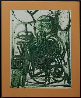 "Patrick Boudon (1944-1988, French), ""Abstract in Green,"" 20th c., gouache on paper, unsigned, presented in a black metal frame, H.-..."