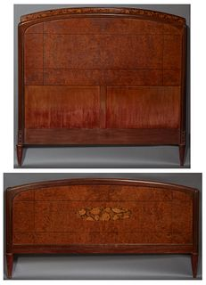 French Inlaid Carved Mahogany Headboard and Footboard, c.1930, the arched floral inlaid crown over a burled walnut headboard flanked...