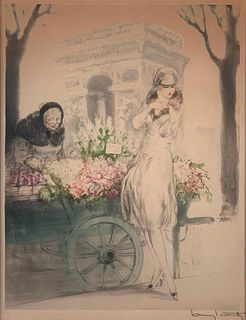 "Louis Icart Etching ""Flower Vendor"""