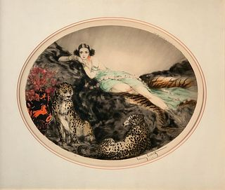 "Louis Icart Etching, ""Thais"""
