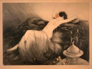 "Louis Icart Etching, "" Smoke"""