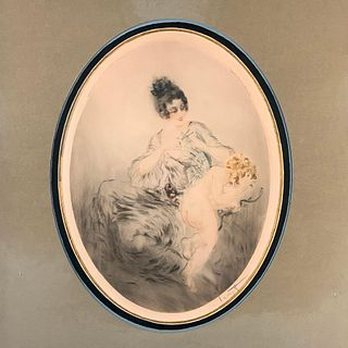"Louis Icart Etching "" Clipped Wings"""