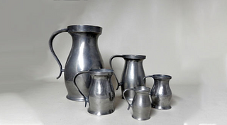 """Five (5) American 18th Century """"A"""" Pewter Measures"""