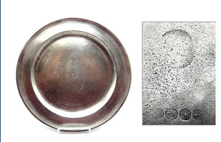 """Marked American Pewter 12"""" Dish by Samuel Danforth"""