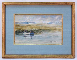Ray Ellis Impressionist Fishing WC Painting