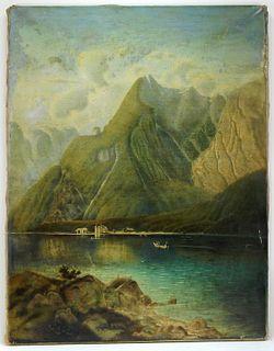 1901 Dutch School River Landscape Painting