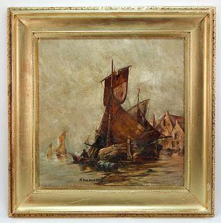 H. Van Der Haas Dutch School Sailboat Painting