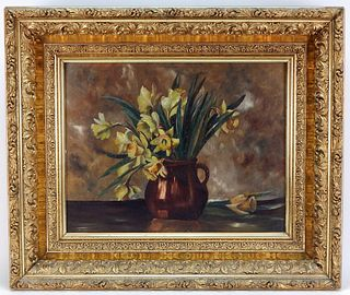 American School Daffodil Still Life Painting