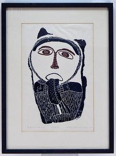 Canadian Inuit Anthropomorphic Woodblock Print