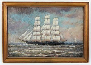 Charles Russell Loomis Impressionist Boat Painting
