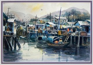 Chin Chung Chinese Impressionist Harbor Painting
