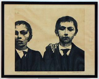 European Expressionist School Boys Etching
