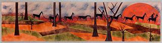 Judith Daner MCM Western Enameled Copper Plaque