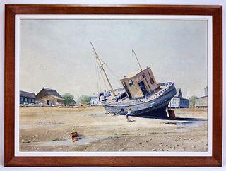 Wayne Davis Impressionist Boat Painting