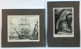 PR Signed Black and White Naval Etchings