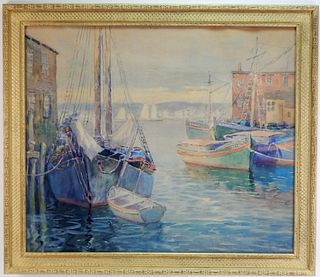 Impressionist Cape Ann Harbor Watercolor Painting