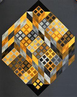 Victor Vasarely Orange and Gray Op Art Serigraph