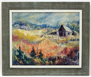 C.1940 American Modern Abstract Landscape Painting
