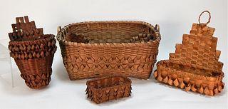 4 Native American Penobscot Hand Woven Baskets