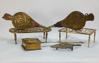 6PC 19C. Brass Trivet Bellows Hearth Fireplace Lot
