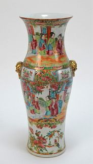 19C Chinese Rose Medallion Cabinet Vase
