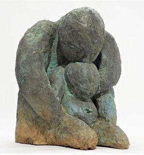 FINE Modern Post Impressionist Mother Child Bronze
