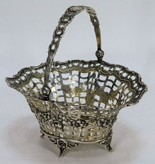 Antique English Reticulated Silver Brides Basket