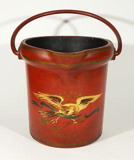 Antique Engine 2 Fiber Fireman Fire Bucket