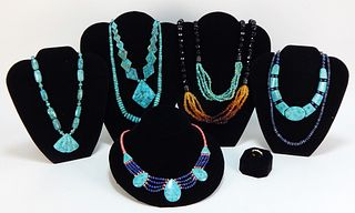 9PC Native American Style Turquoise Jewelry Group