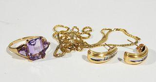Group Estate 10K & 14K Amethyst Diamond Jewelry