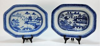 19C Chinese Canton Blue and White Platters