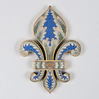 Continental Bronze and Enamel Fleur-de-lis Paper Weight
