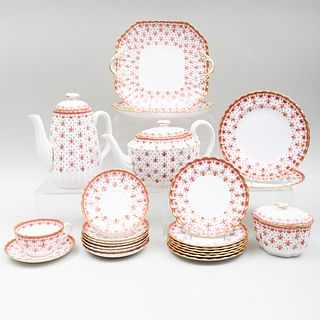 Spode Porcelain Tea and Coffee Service in the 'Fleur De Lys Red' Pattern
