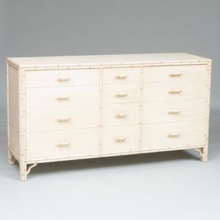 Modern Cream and Red Painted Faux Bamboo Chest of Drawers