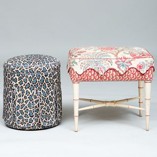 Painted Faux Bamboo Stool and an Upholstered Stool