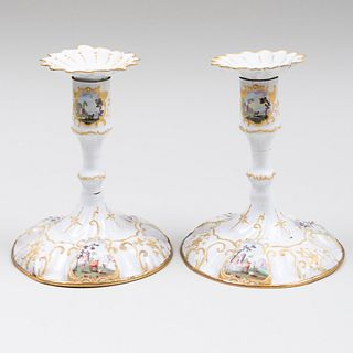 Pair of English Battersea Enamel Candlesticks