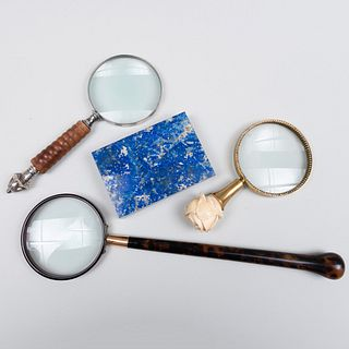 Italian Silver-Gilt-Mounted Lapis Lazuli Table Box and Three Magnifying Glasses
