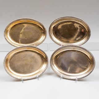 Set of Four Irish Silver-Gilt Oval Dishes