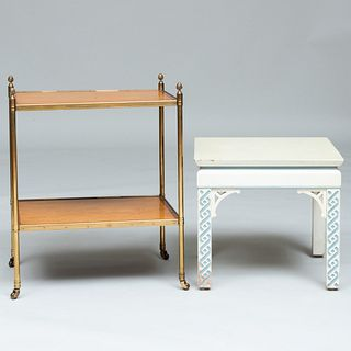 Modern Brass-Mounted Satinwood Cross Banded Two-Tier Table