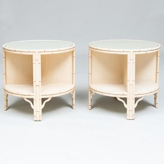 Pair of Painted Faux Bamboo Two Tier Side Tables, Possibly Maison Jansen
